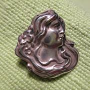 Sterling Art Nouveau Lady's Head Pin Brooch with Watch Hook
