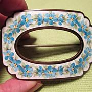 Enamel Buckle Brooch / Pin - Floral Motif