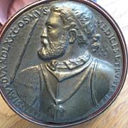Trinket Box - Relief of Nobleman - Italian Mid Century - leather & Metal