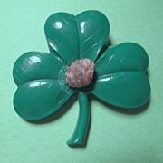 SALE Shamrock Pin with Blarney Stone - 1950's Hard Plastic