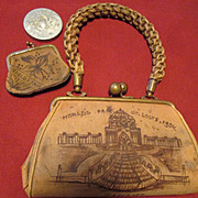 St. Louis Fair - 1904 - Souvenir Child's Leather Purse with Small Coin Purse and Mirror Includ