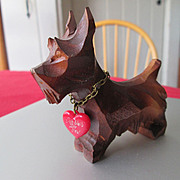 """Scottie Dog with heart that reads """"I Remain Faithful to You"""" in German"""