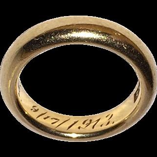 14K Wedding Ring Engraved 1913 Size 6