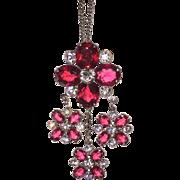 Vintage 1930s Brooch Pendant Pink
