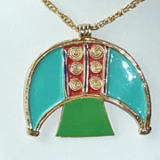 REDUCED Wild 1960's Enamel Pendant Huge Mushroom