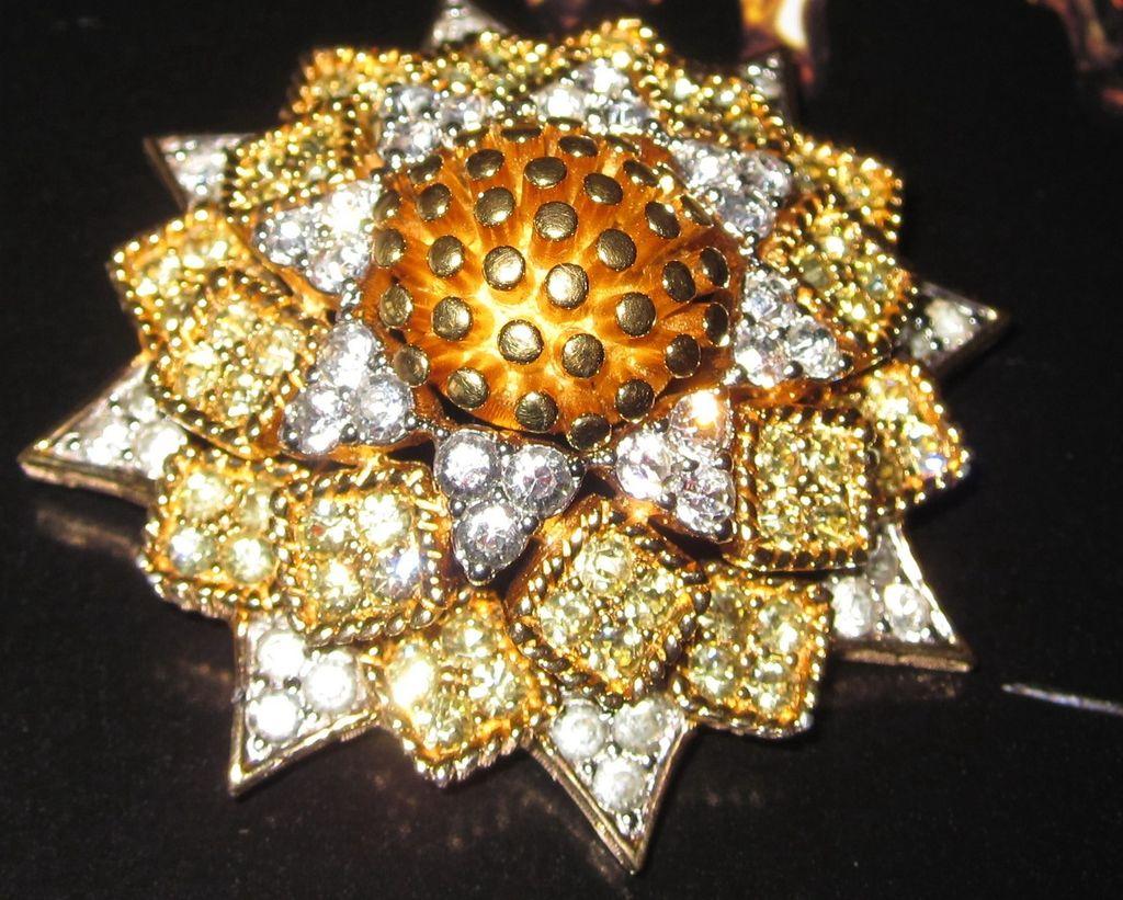 Joseph Mazer Jomaz Sunflower Set Brooch and Earrings Sunday Best!