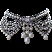 Fabulous Rousselet Faux Pearls Festoon Choker Necklace