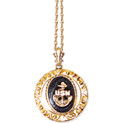 REDUCED Vintage U.S. Navy Sweetheart Pendant Onyx