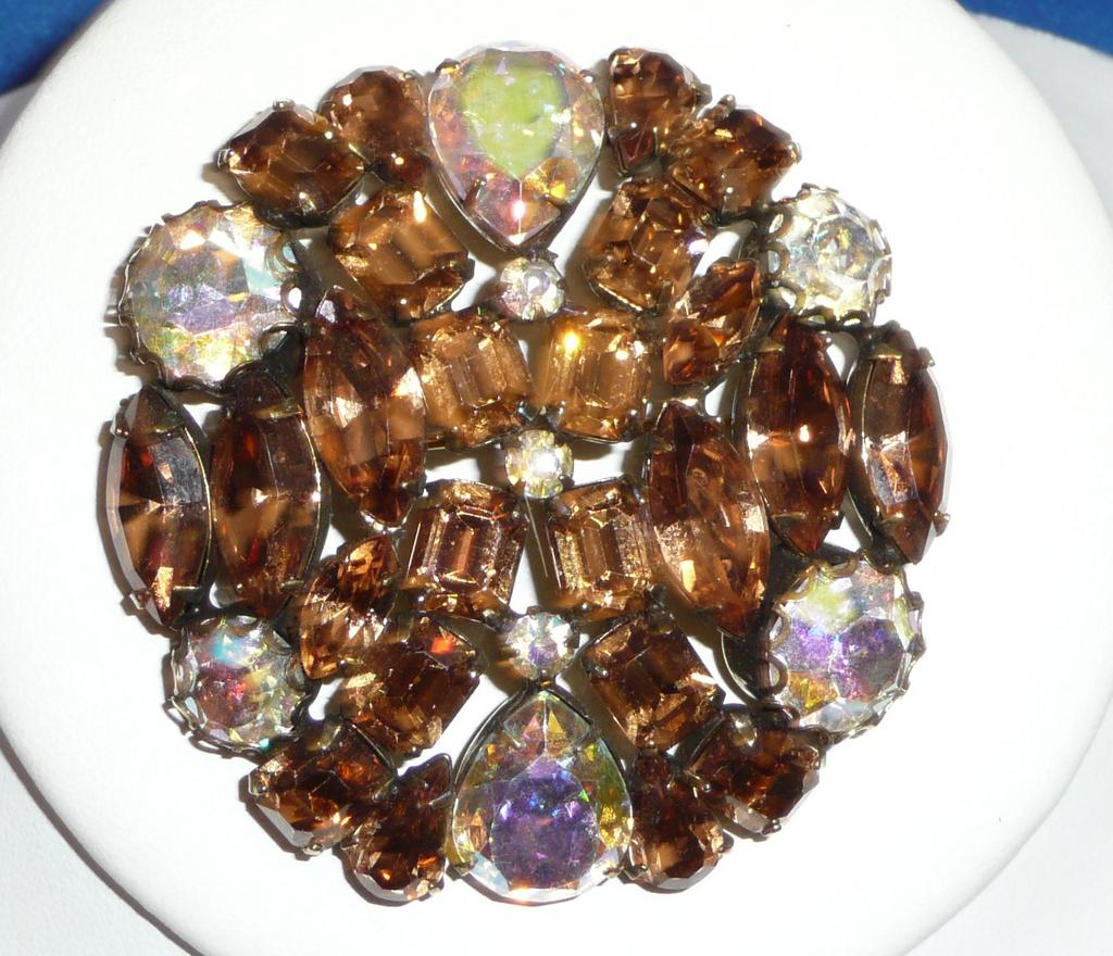 Beautiful Large Rhinestone Brooch Amber Colors