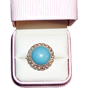 REDUCED Massive Vintage Gold and Turquoise Pearl Ring
