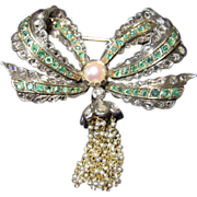 REDUCED Antique Diamond Emerald Bow Brooch Circa 1800s