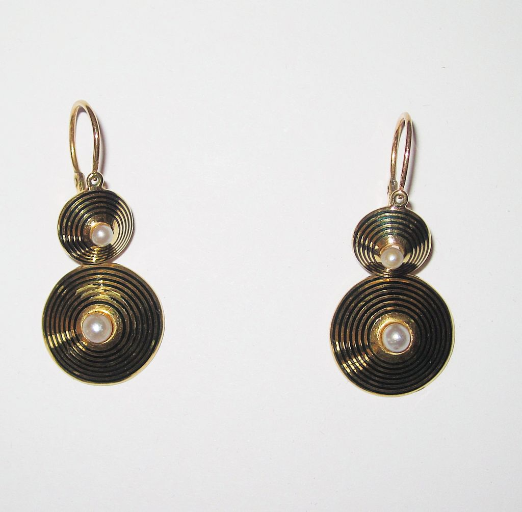 14K  Gold and Enamel and Pearls Antique Earrings Day Night