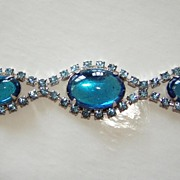 Aqua Mirror Glass Bracelet with Rhinestones