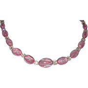 REDUCED Vintage Art Glass Beads Pink and Blue