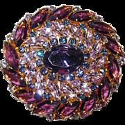 REDUCED Vintage Austria Rhinestone Brooch/Pendant and  Earrings Purple