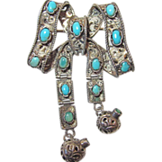 REDUCED Antique Austro Hungarian Turquoise Bow Brooch