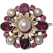 REDUCED Austro Hungarian Brooch Garnets Cultured Pearls