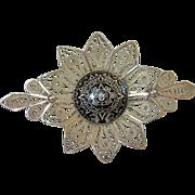 Vintage Aztec Sun Dial Silver Enamel Filigree Brooch