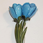 Large Enamel Blue Flower Pin