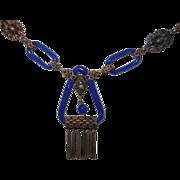 REDUCED Art Deco Czech Lapis Glass Necklace
