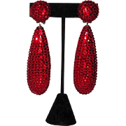 REDUCED Wow! Bellini by Formart Large Disco Ball and Teardrop Earrings Red
