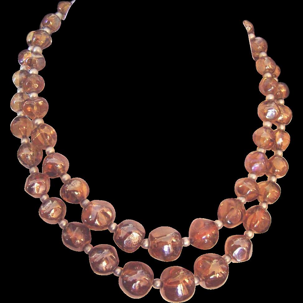 Best Vintage Glass Beads Necklace Golden