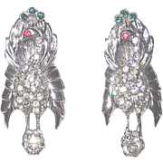 Pair Vintage Sterling Peacock Bird Fur or Dress Clips