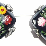 Wonderful Reverse Carved Painted Glass Earrings Clip