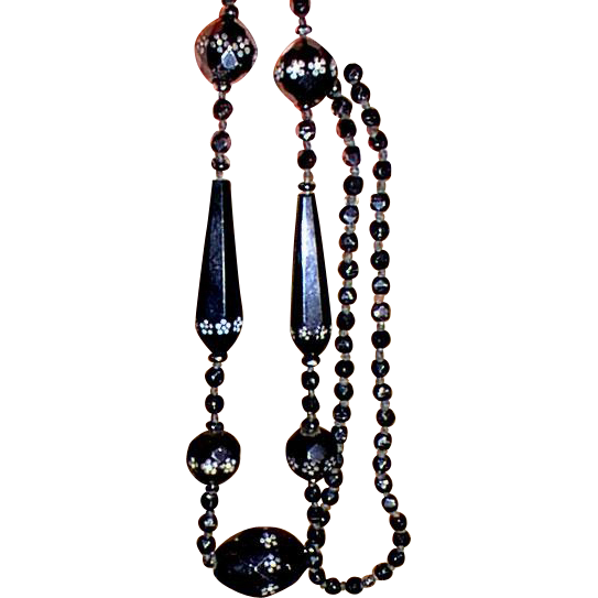 It's All About Victorian Black Painted Jet Glass Long Beads