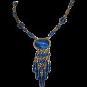 REDUCED Art Deco Blue Peking Glass Pendant Necklace