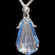 REDUCED Vintage Blue Crystal Huge Art Deco Period Pendant