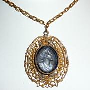 Victorian Blue Glass Cameo Pendant
