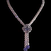 Vintage Choker Silvertone Blue Glass Bead Drops