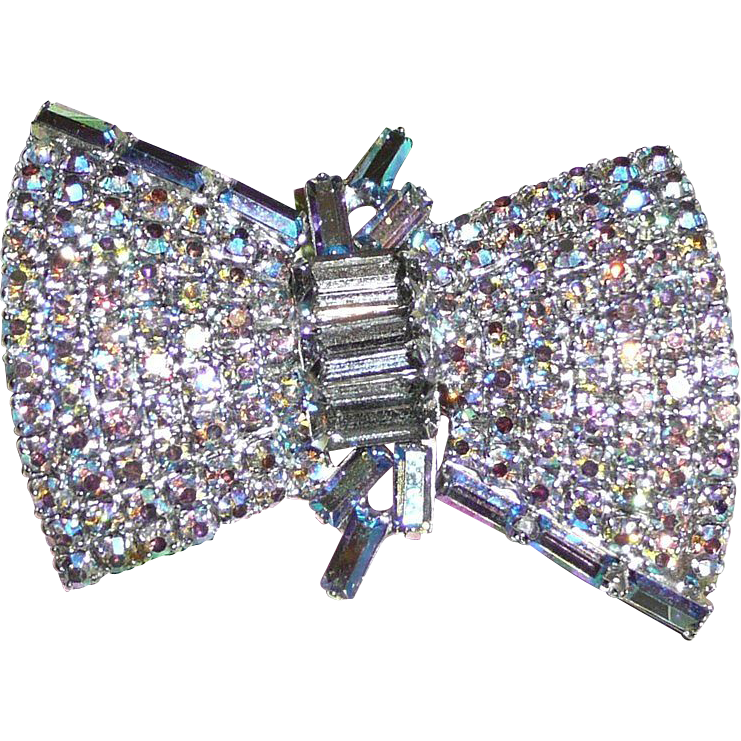 Beautiful Blue Aurora Borealis Rhinestone Brooch