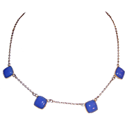 Art Deco Vintage Blue Glass Delicate Necklace