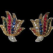 Boucher Rhinestone Earrings Brilliant!