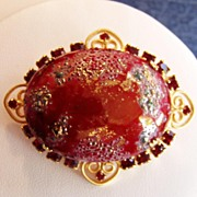 Vintage Rhinestone Huge Easter Egg Brooch