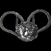 REDUCED Art Nouveau Belt Buckle Silver Plated