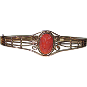REDUCED Victorian Hinged Coral Cameo Bangle Bracelet