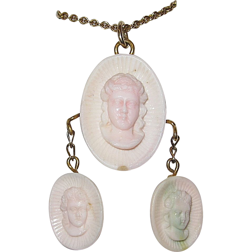 19th Century Pink Conch Shell Cameo Necklace