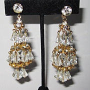 Wonderful Hattie Carnegie Gold Tone Chandelier Earrings Wow