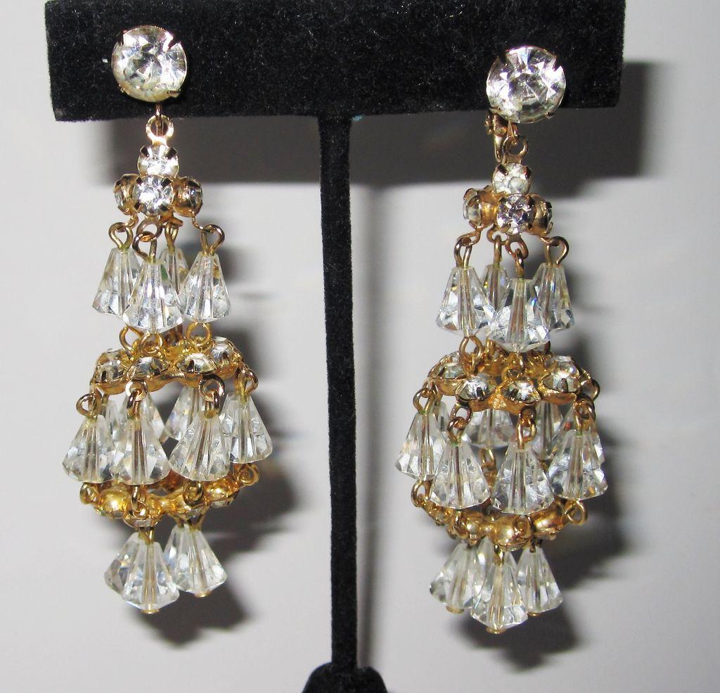 Wonderful Hattie Carnegie Gold Tone Chandelier Earrings Wow