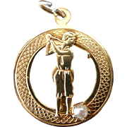 Vintage 14K Solid Yellow Gold Lady Golfer Charm or Pendant
