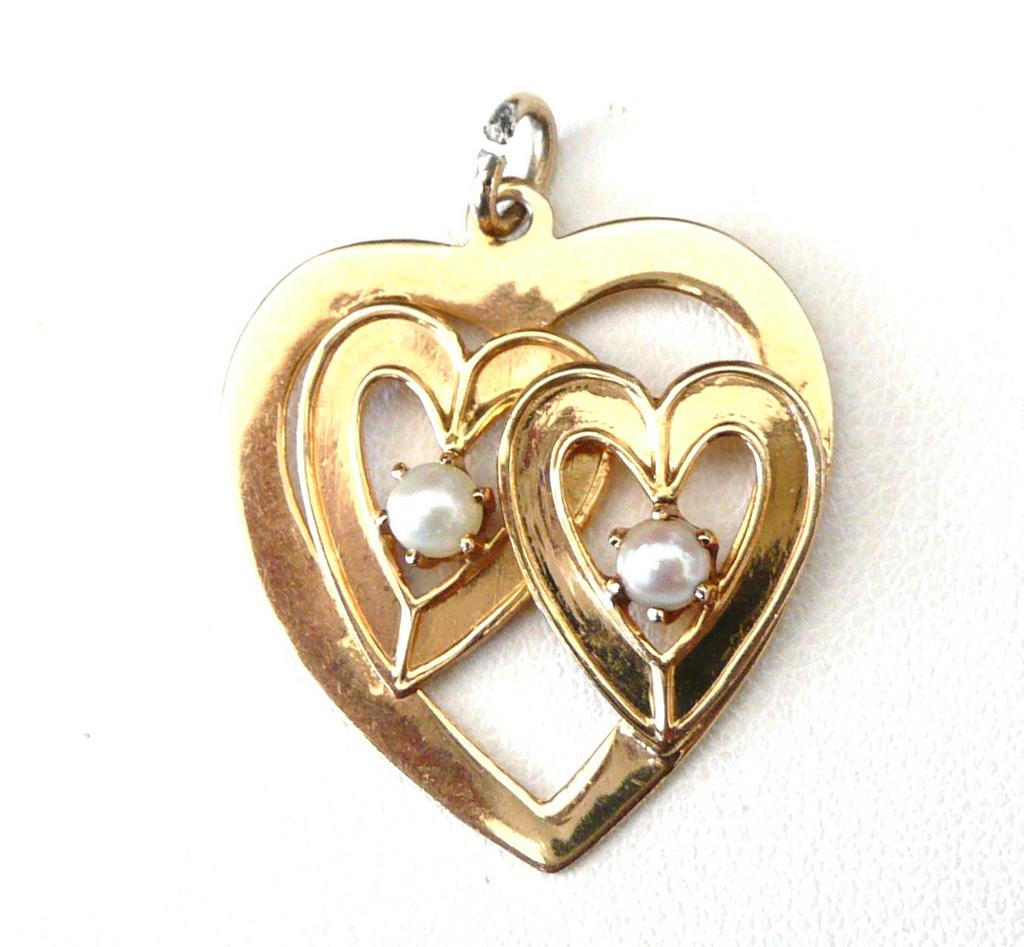 Vintage 14K Solid Yellow Gold Heart and Pearls Charm or Pendant