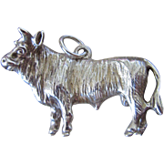 Large Sterling Charm of a Bull
