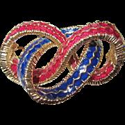 Vintage Ciner Enamel Ribbon Brooch