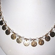 REDUCED Vintage Crystal Beads with Miniature Coins
