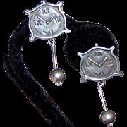 Ella Cone Signed Sterling Clock Clip Earrings