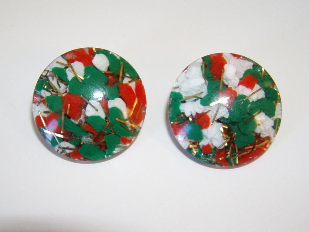 Vintage Large Confetti Lucite Clip Earrings