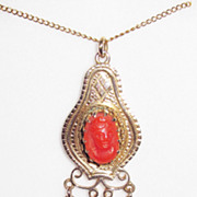 REDUCED Victorian 14K Gold Coral Cameo Pendant